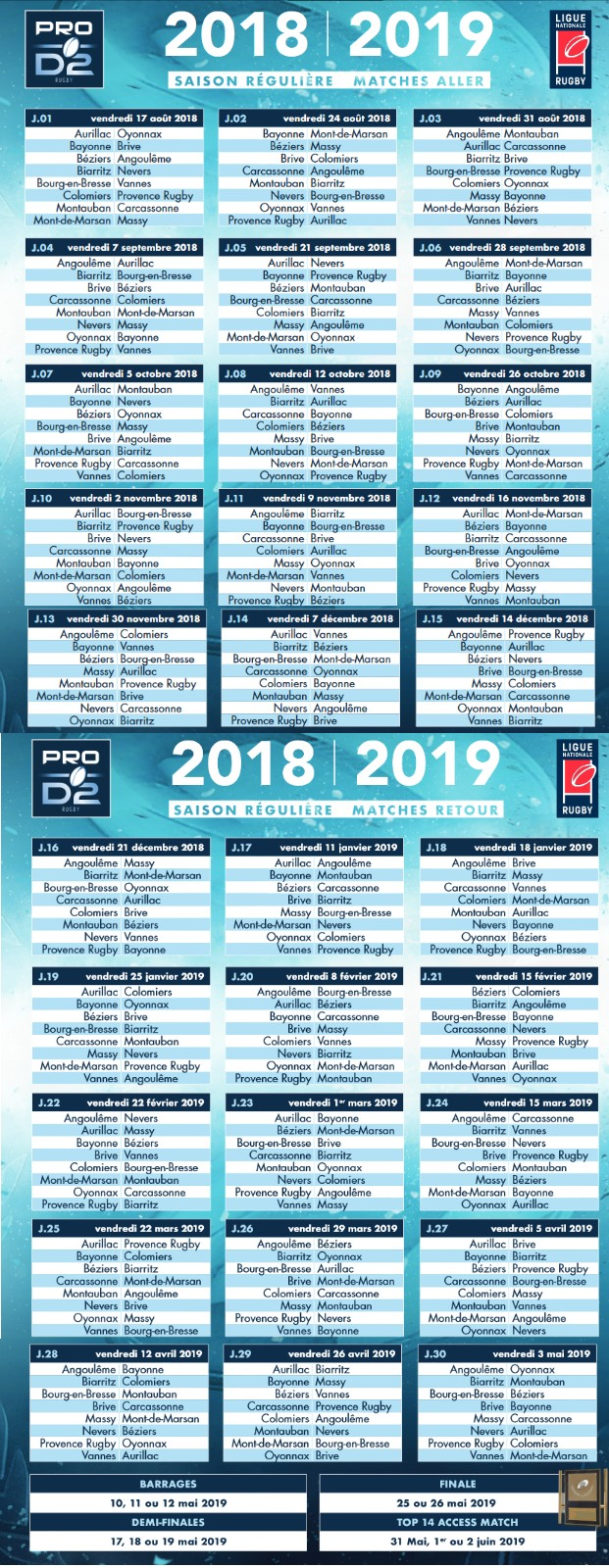 Calendrier 2020 Rugby.Le Calendrier De Pro D2 Rugby Club Vannes